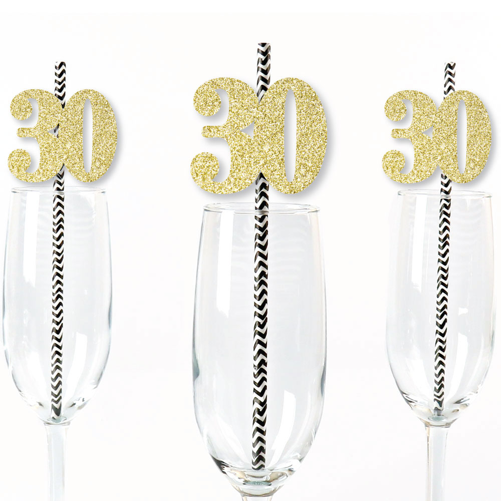 Gold Glitter 30 Party Straws - No-Mess Real Gold Glitter Cut-Out Numbers & Decorative 30th Birthday Paper Straws -24 Ct