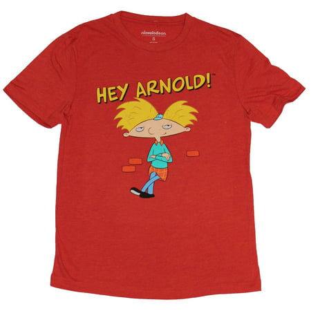 Hey Arnold! (Nickelodeon) Mens T-Shirt - Chilling Arnold Under Logo Image for $<!---->
