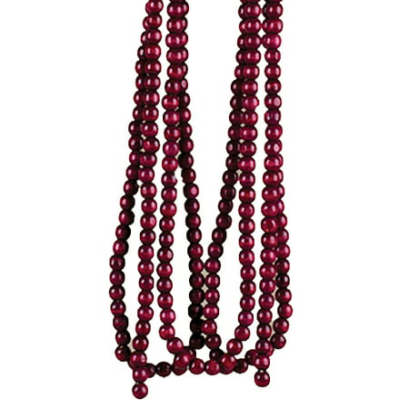 - Cranberry Wood Bead Garland