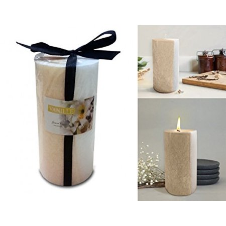 - Scented Pillar Candles Two tone Soothing Relaxing Fragrance Gift wrapped 6 Inch Tall (Vanilla)