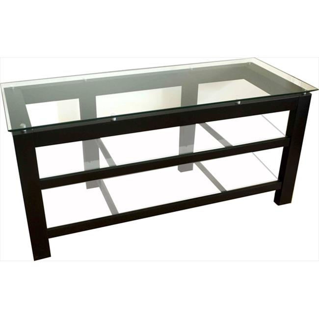 Plateau SL3V50B Wood and Glass 50 inch Black Satin Paint Finish TV Stand