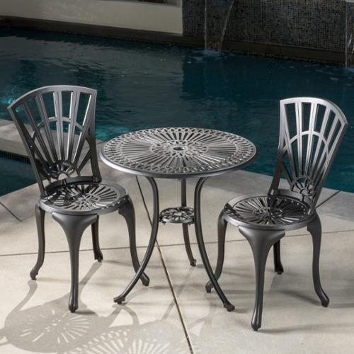 Alondra Outdoor 3-Piece Cast Aluminum Bistro Set by GDF Studio