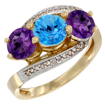 14K Yellow Gold Natural Swiss Blue Topaz & Amethyst Sides 3 stone Ring Round 6mm Diamond Accent, sizes 5 - 10