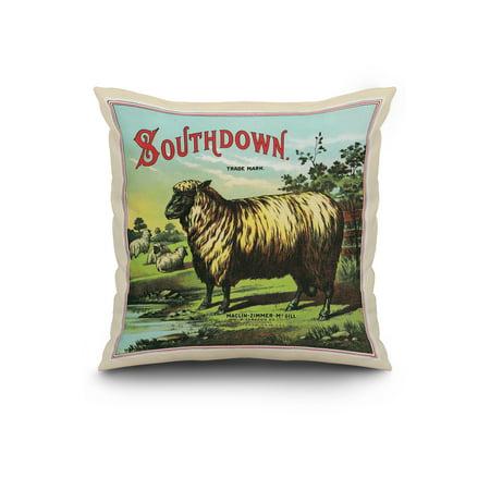 Southdown Brand Tobacco Label 20x20 Spun Polyester Pillow White Border