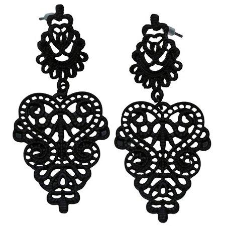 (Women's Kitsch N Kouture Black Lace Lolita Earrings)