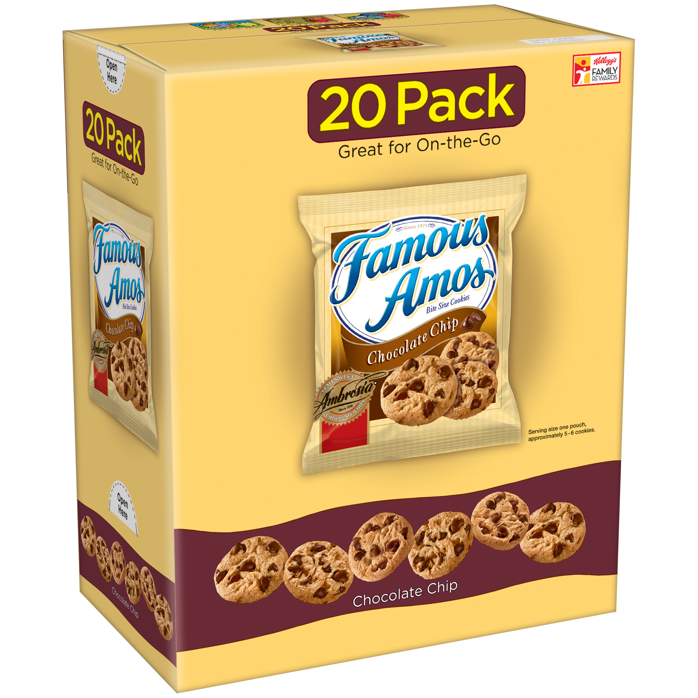 Kelloggs Famous Amos Chocolate Chip Cookies, 1.2 Oz., 20 Count