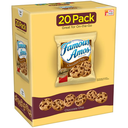 (2 Pack) Famous Amos Chocolate Chip Cookies Caddie Pack 24 oz 20 Ct Chocolate Semi Sweet Cookies