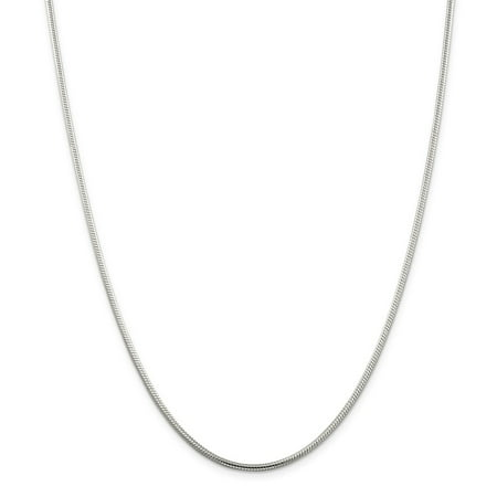 Solid 925 Sterling Silver 2mm Round Snake Chain Necklace 16