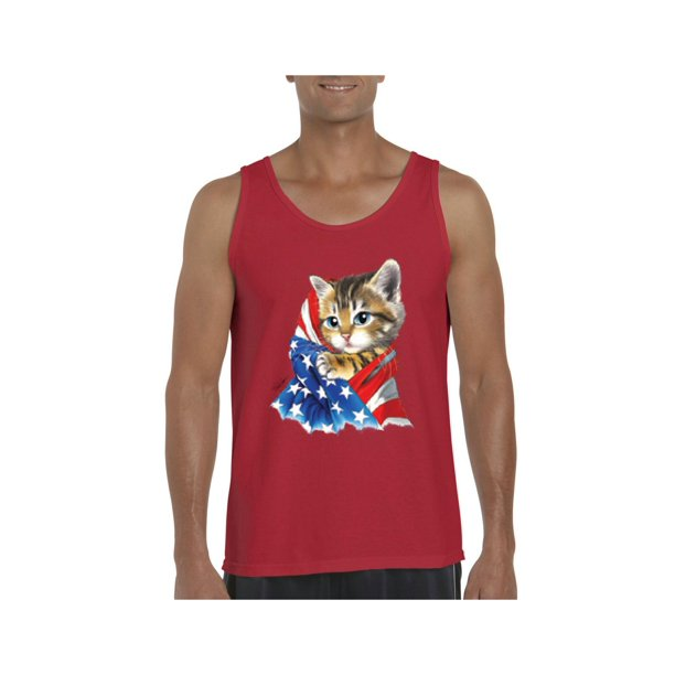 Cute Kitty with American Flag Men Ultra Cotton Tank Top