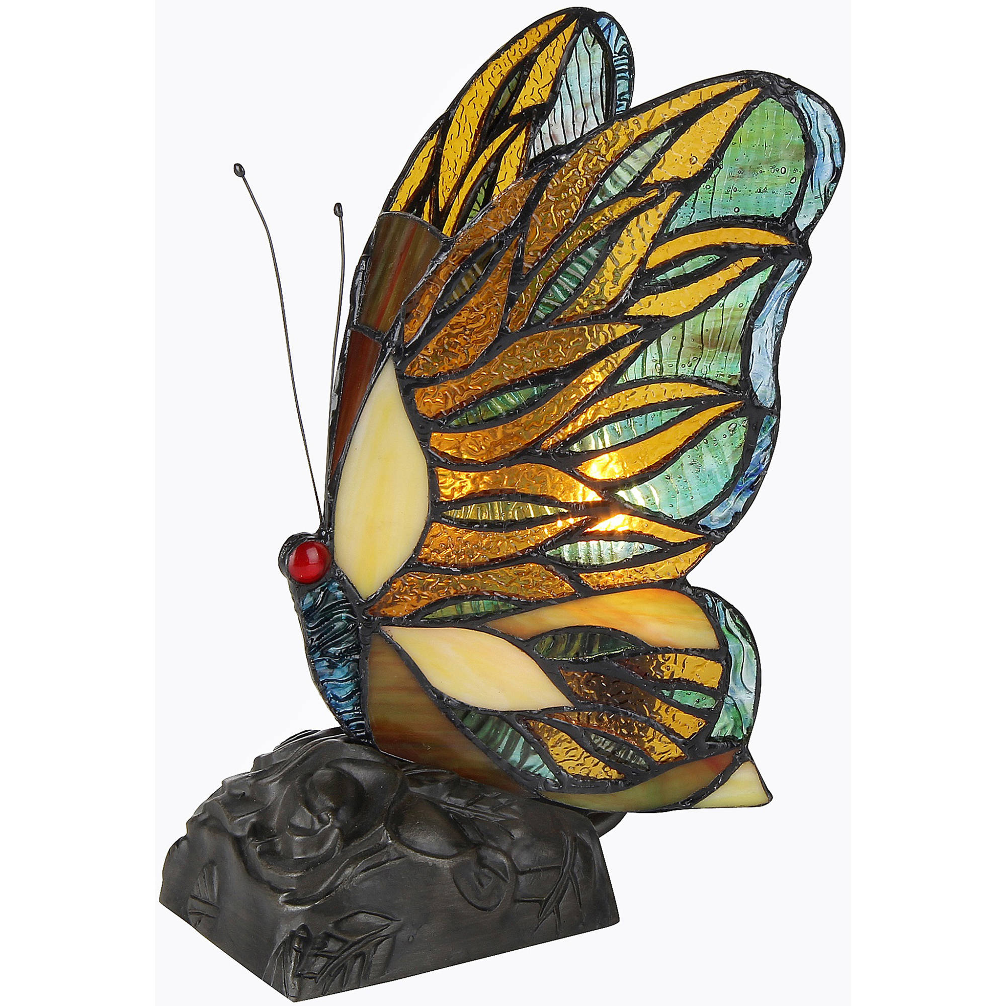 "Chloe Lighting Jacy 3 Tiffany-Style 1-Light Butterfly Accent Table Lamp, 10"" Tall"
