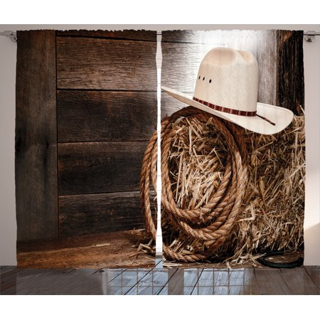 - Western Decor Curtains 2 Panels Set, American West Rodeo Hat With Traditional Ranching Robe On Wooden Ground Folk Art Photo, Living Room Bedroom Accessories, By Ambesonne