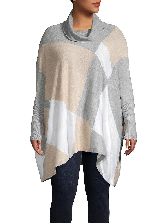 Plus Cowlneck Colorblock Handkerchief Tunic