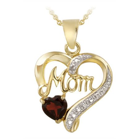 18k Gold over Silver Gemstone and Diamond 'Mom' Necklace