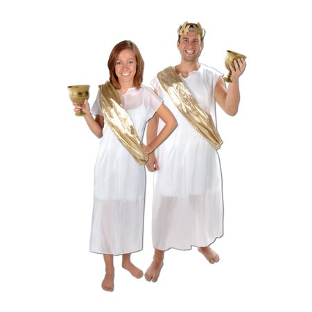 Italian Ancient Roman Inspired White and Gold Toga and Sash Costume Accessories