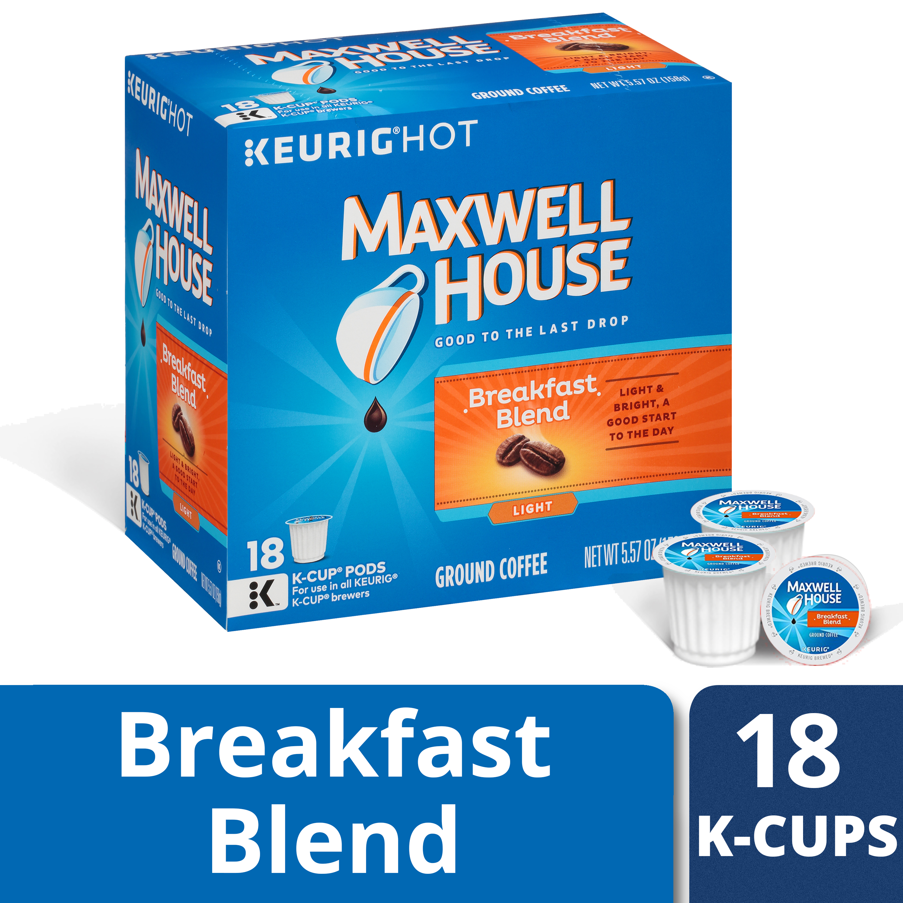 Maxwell House Breakfast Blend Coffee K-Cup Packs 18 ct Box