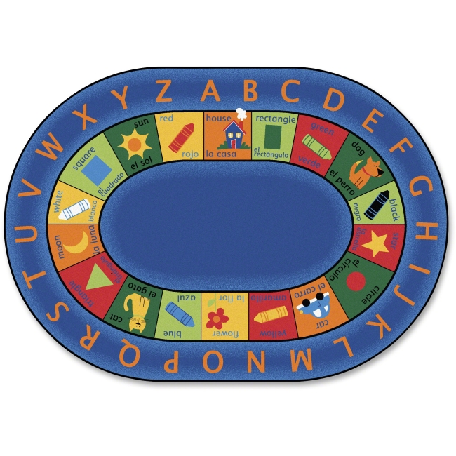 "Carpets for Kids Bilingual Early Learning Oval Rug - 11.67 ft Length x 99"" Width - Oval"