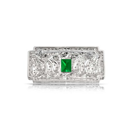 Art Deco Vintage Style Green AAA CZ Rectangle Scarf Brooch Pin For Women Simulated Emerald Cut Silver Plated Brass - image 3 de 4