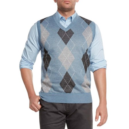 True Rock Men's Athletic Cut Argyle V-Neck Sweater Vest (Argyle Pattern Sweater)