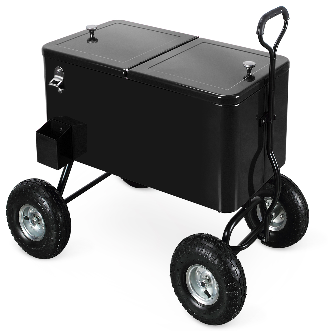 BELLEZE 80 Qt Party Beach Patio Portable Rolling Ice Chest Drink Cooler Wagon w/ Built-In Bottle Opener and Catch Tray
