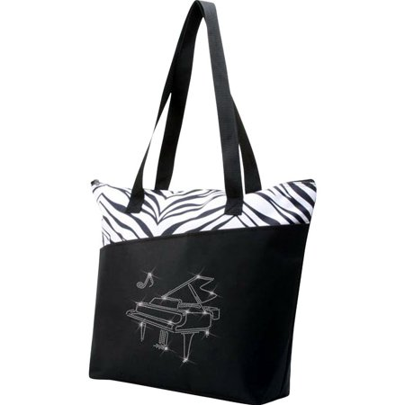 - Zebra/Bling Grand Piano Tote Bag