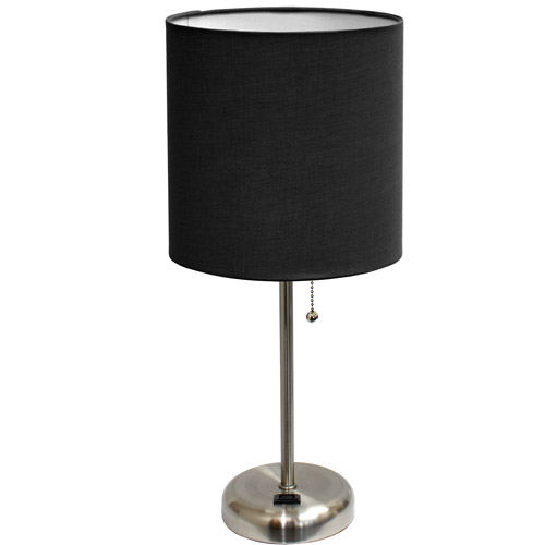 LimeLights Stick Lamp with Outlet and Fabric Shade