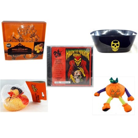 Halloween Fun Gift Bundle [5 Piece] - Wilton Autumn 8-Piece Cookie Cutter Set - Black With Skeleton Oval Party Tub - Haunted Horror Sounds CD - Happy  Monster Duck Novelty -Vampire Rubber Duck - Pum - Halloween Horror Sounds Effects