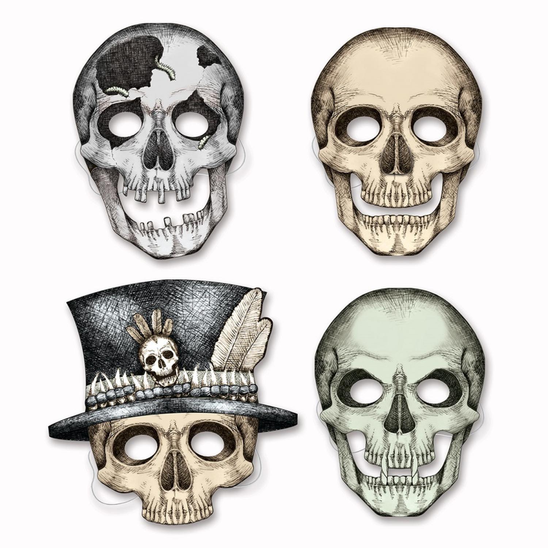 "Club Pack of 48 Decorative Spooky Skeleton Halloween Masks 10.5"""
