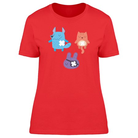 Cute Animal Doodles Cartoon Tee Women's -Image by Shutterstock