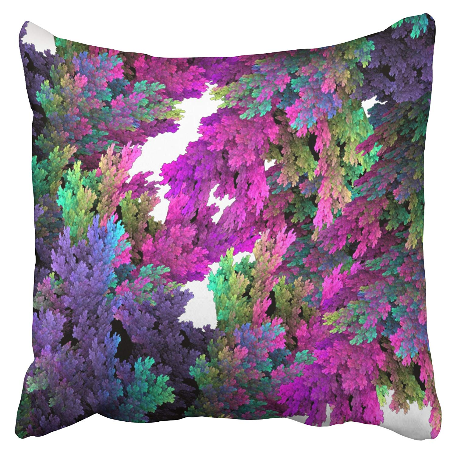 WOPOP Whimsical Neon Pink Teal Purple Floral Coral Pillowcase Cushion Cover 18x18 inch