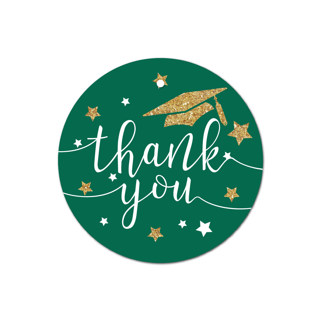 Emerald Forest Green and Gold Glittering Graduation Party, Round Circle Gift Tags, Thank You!, 24-Pack