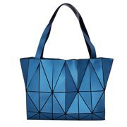 Blue Diamond Lattice Handbag for Women Gloss Convertible Shoulder Tote Bag with Adjustable Handles PU Leather Fashionable by Draizee