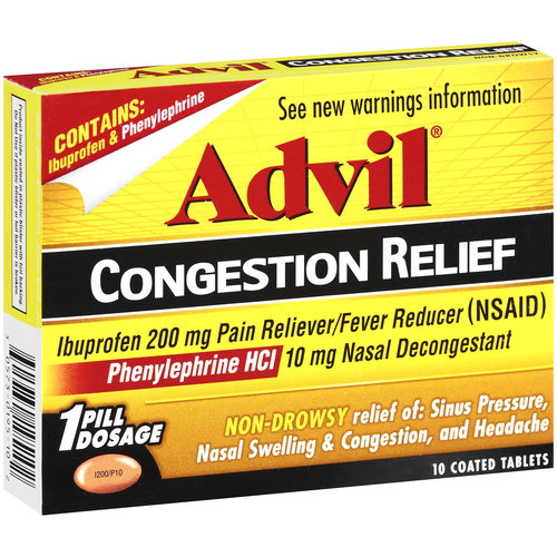 Advil Non-Drowsy Pain Reliever/Fever Reducer/Nasal Decongestant Coated Tablets, 10ct