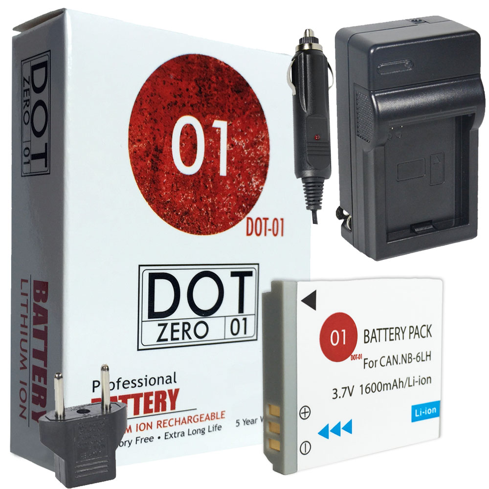 DOT-01 Brand 1600 mAh Replacement Canon NB-6L Battery and Charger for Canon SD4000 IS Digital Camera and Canon NB6L