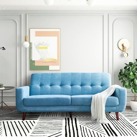 """79"""" Sectional Sofa, Mid Century Sofa Couch with Solid Wood Frame and Legs, Tufted Polyester Fabric Love Seat, Stylish Living Room Bedroom Furniture for Small Space, Holds 660 lbs, Blue, Q4956"""