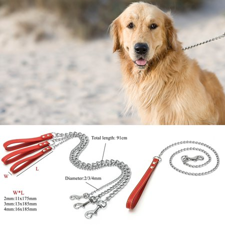Heavy Duty Chain Leash, MEJOY 2/3/4MM Pet Heavy Puppy Dog Traction Training Portable Rope Lead Leather Handle