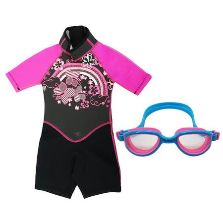 Kiddi Choice Kids 2.5mm Neopreme Short Sleeve Wetsuit Black/Pink w/ Swim Goggles Blue/Pink, 6 ()