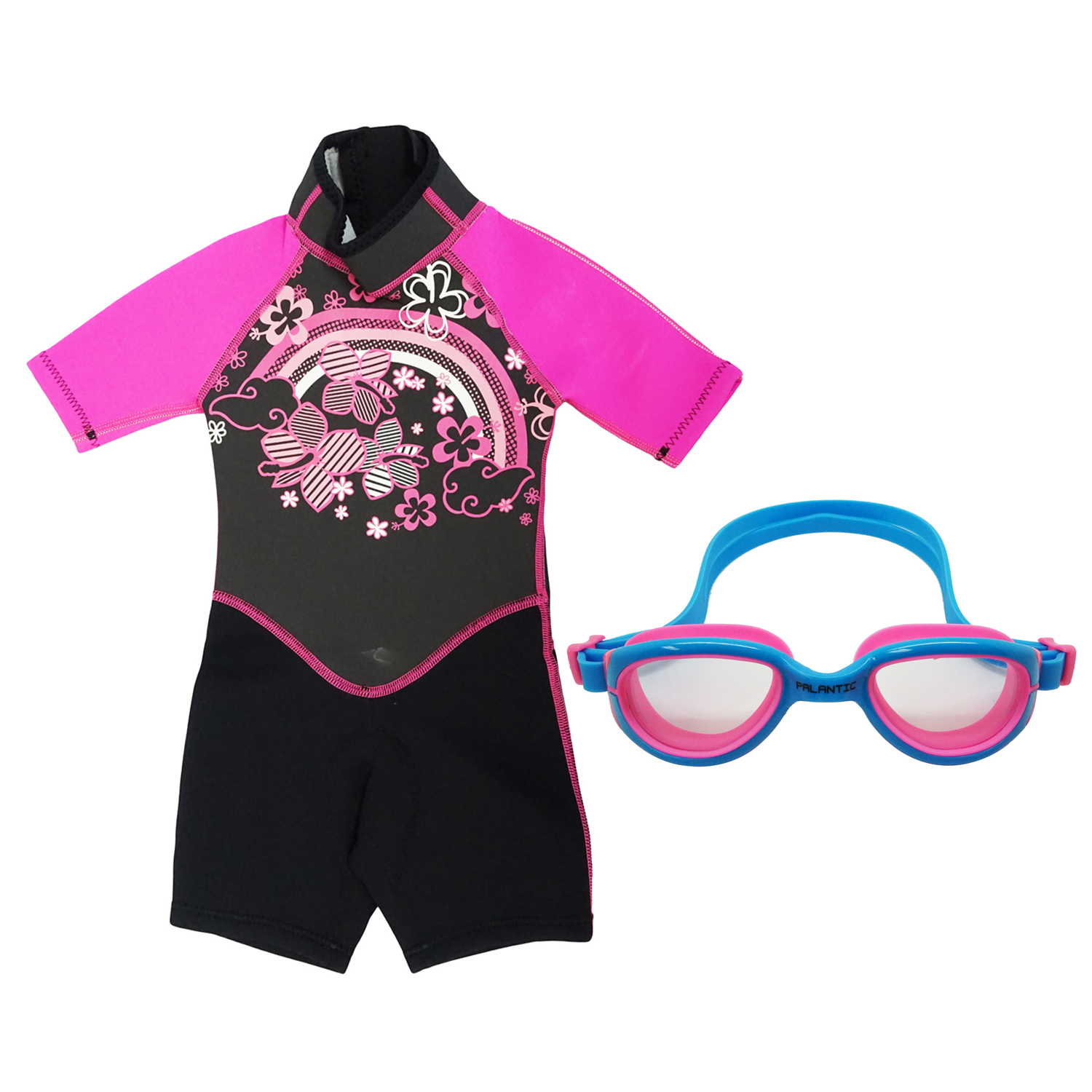 Kiddi Choice Kids 2.5mm Neopreme Short Sleeve Wetsuit Black/Pink w/ Swim Goggles Blue/Pink, 6
