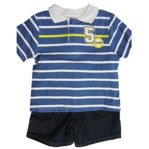 Carter's Baby Boys Blue White Polo Shirt Denim 2 Pc Shorts Set 24M