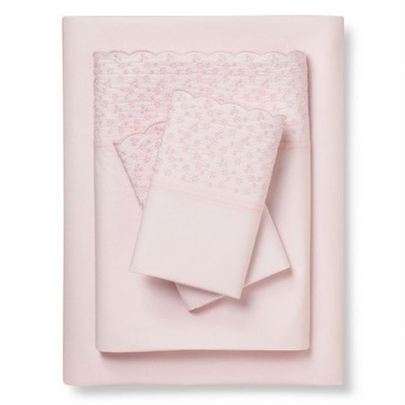 Simply Shabby Chic Pink Cotton Embroidery Sheet Set King