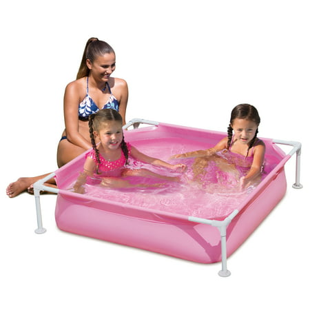 - Summer Waves 4' Rectangular Plastic/Metal Frame Pool, Pink