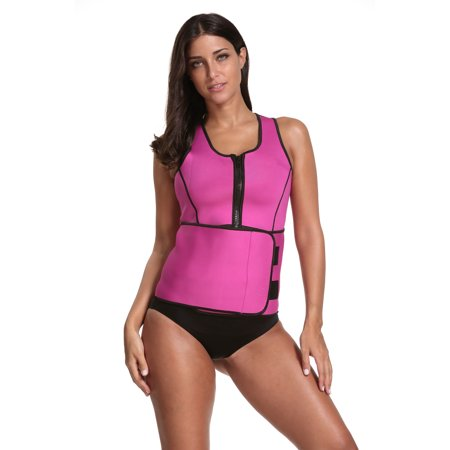 Sauna Sweat 2 in 1 Tank Top with Adjustable Belt - Pink, Large