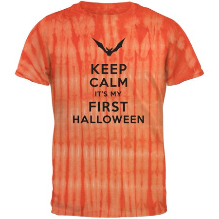 Bamboo Dyes (Halloween - Keep Calm My First Halloween Bamboo Orange Tie Dye Adult T-Shirt)