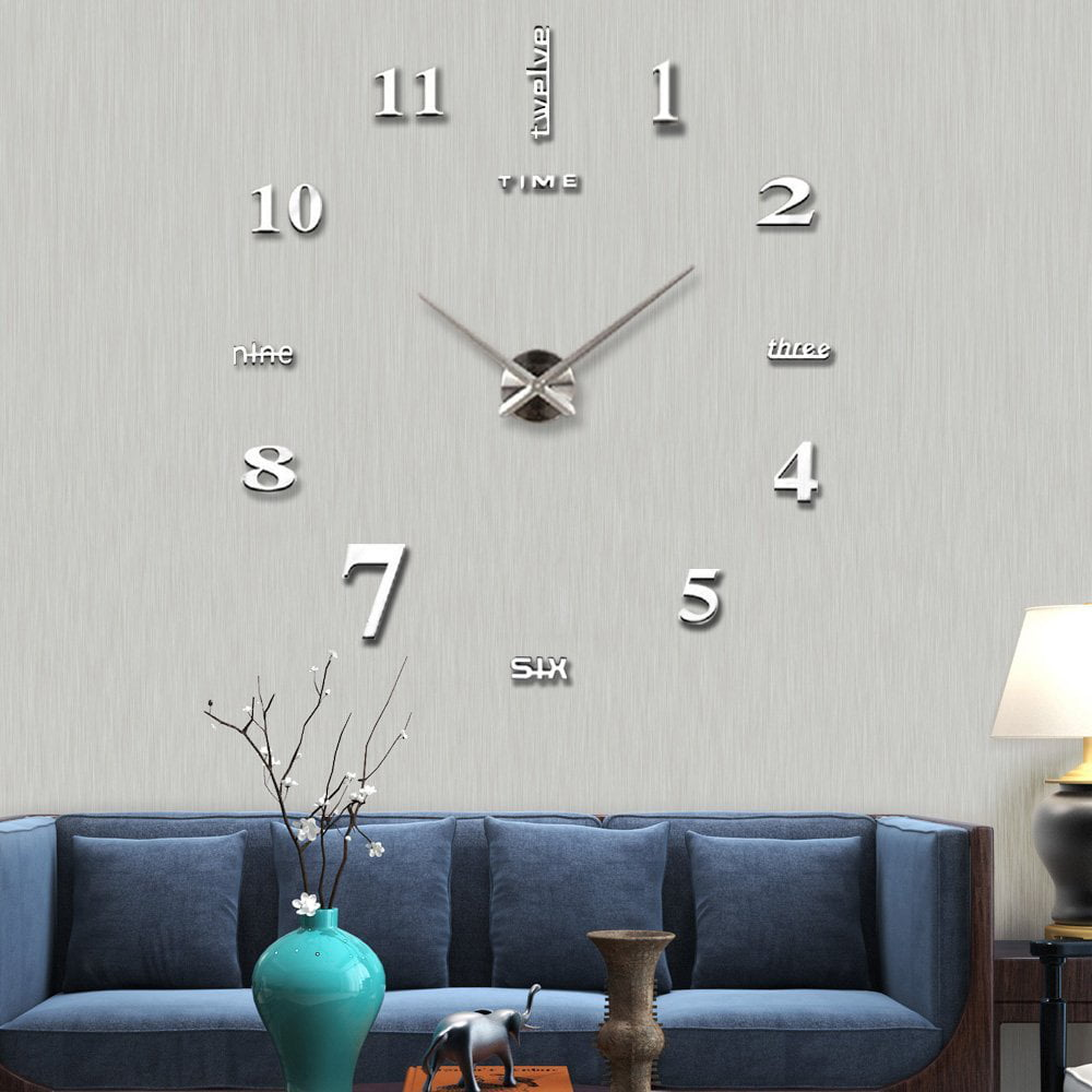 Frameless Wall Clock, Large Modern 3D Mirror Wall Clock Mute Diy Wall  Stickers For Living Room Bedroom Home Decoration(Silver)