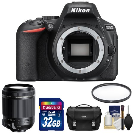 Nikon D5500 Wi-Fi Digital SLR Camera Body (Black) - Factory Refurbished with Tamron 18-200mm VC Zoom Lens + 32GB Card + Case + Filter + Kit