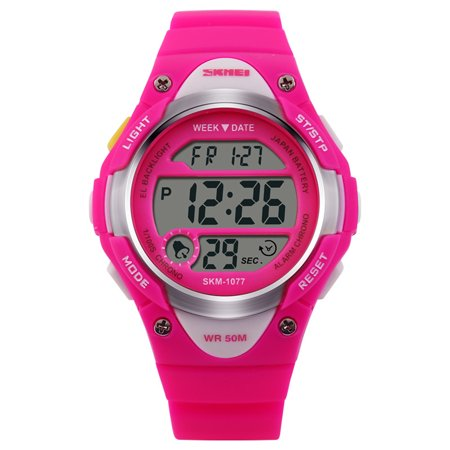 Children's Multi-function LED Digital Sport Watch 50M Waterproof Wrist Watch With Alarm Stopwatch Lightweight Silicone Strap Watch Color:Rose Red