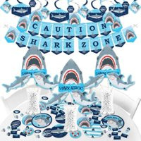 Shark Zone - Jawsome Shark Party or Birthday Party Supplies - Banner Decoration Kit - Fundle Bundle