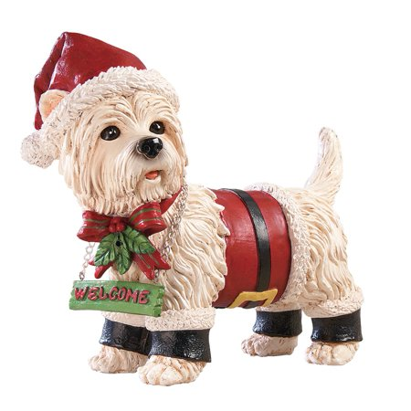 Motion Sensored Festive Santa Pet Christmas Yard Decoration, Welcome Entrance Figurine for Pet Lovers, Dog