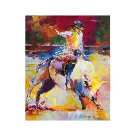 Rodeo Colorful Western Theme Cowboy Painting Print Wall Art By Richard Wallich