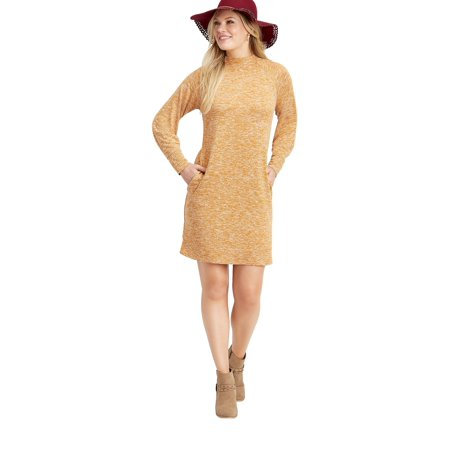 Solid Sweater Pocket Dress