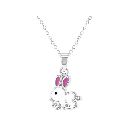 Enamel Peace Pendant - 925 Sterling Silver White and Pink Enamel Bunny Necklace Pendant for Girls 16